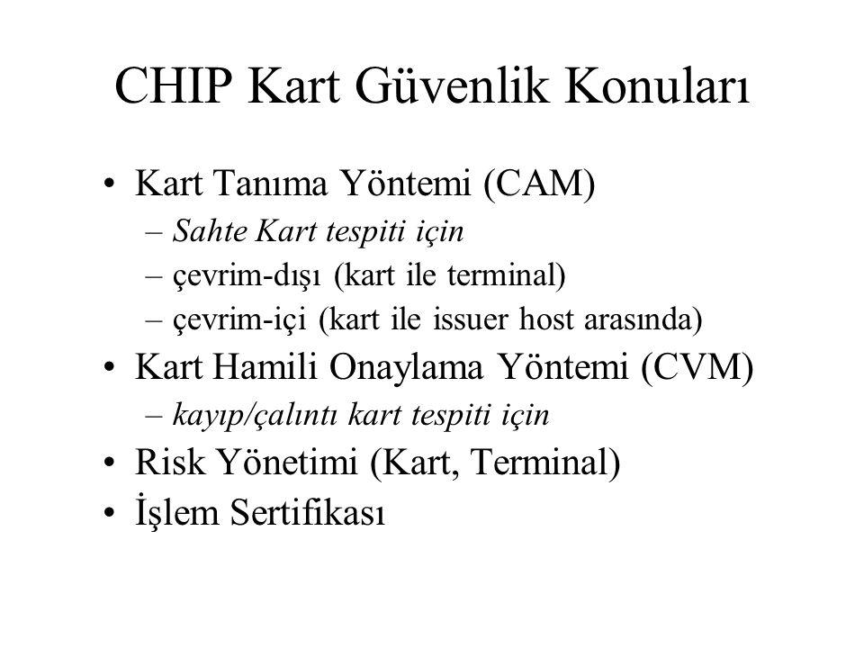 CHIP Kart Güvenlik Konuları Kart Tanıma Yöntemi (CAM) –Sahte Kart tespiti için –çevrim-dışı (kart ile terminal) –çevrim-içi (kart ile issuer host arasında) Kart Hamili Onaylama Yöntemi (CVM) –kayıp/çalıntı kart tespiti için Risk Yönetimi (Kart, Terminal) İşlem Sertifikası