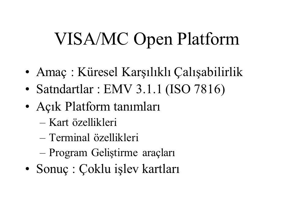 VISA/MC Open Platform Amaç : Küresel Karşılıklı Çalışabilirlik Satndartlar : EMV 3.1.1 (ISO 7816) Açık Platform tanımları –Kart özellikleri –Terminal özellikleri –Program Geliştirme araçları Sonuç : Çoklu işlev kartları
