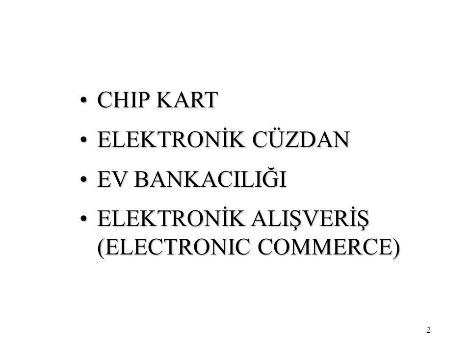 2 CHIP KARTCHIP KART ELEKTRONİK CÜZDANELEKTRONİK CÜZDAN EV BANKACILIĞIEV BANKACILIĞI ELEKTRONİK ALIŞVERİŞ (ELECTRONIC COMMERCE)ELEKTRONİK ALIŞVERİŞ (ELECTRONIC COMMERCE)