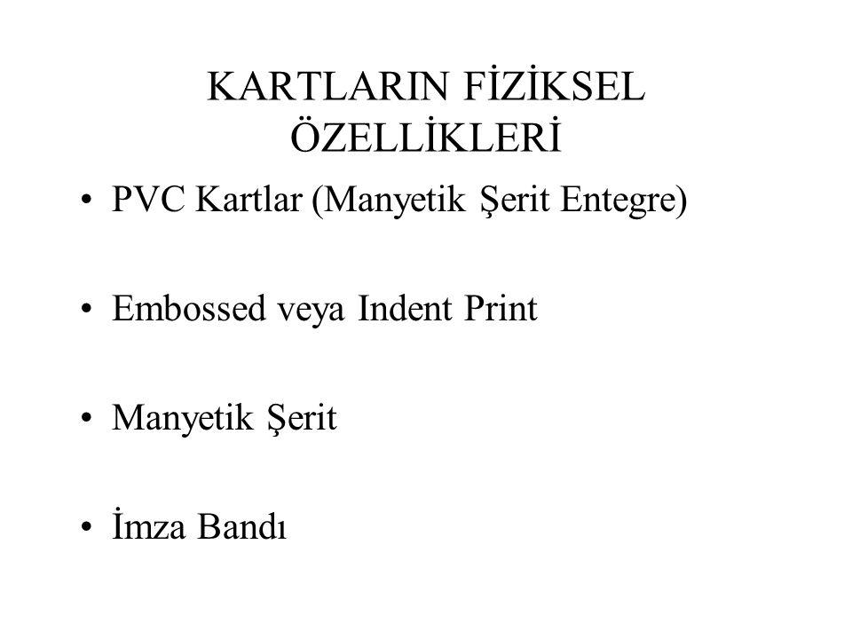 KARTLARIN FİZİKSEL ÖZELLİKLERİ PVC Kartlar (Manyetik Şerit Entegre) Embossed veya Indent Print Manyetik Şerit İmza Bandı
