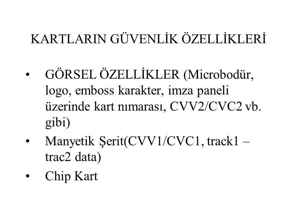 KARTLARIN GÜVENLİK ÖZELLİKLERİ GÖRSEL ÖZELLİKLER (Microbodür, logo, emboss karakter, imza paneli üzerinde kart nımarası, CVV2/CVC2 vb. gibi) Manyetik