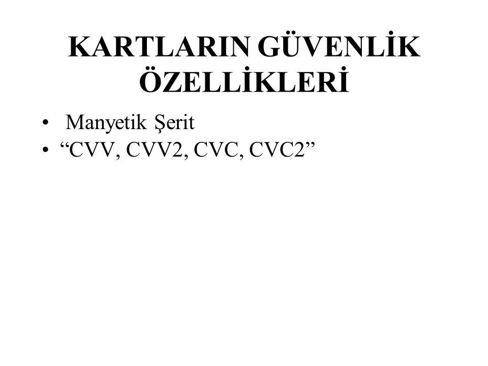 KARTLARIN GÜVENLİK ÖZELLİKLERİ Manyetik Şerit CVV, CVV2, CVC, CVC2