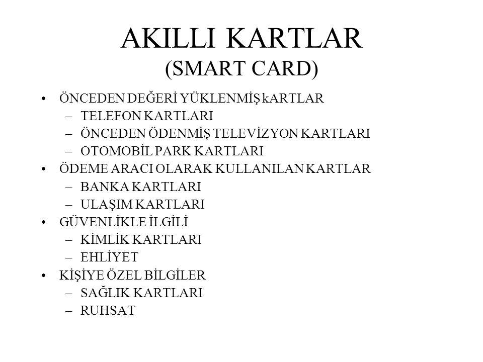 AKILLI KARTLAR (SMART CARD) ÖNCEDEN DEĞERİ YÜKLENMİŞ kARTLAR –TELEFON KARTLARI –ÖNCEDEN ÖDENMİŞ TELEVİZYON KARTLARI –OTOMOBİL PARK KARTLARI ÖDEME ARAC