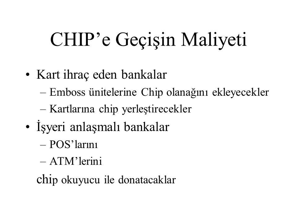 CHIP'e Geçişin Maliyeti Kart ihraç eden bankalar –Emboss ünitelerine Chip olanağını ekleyecekler –Kartlarına chip yerleştirecekler İşyeri anlaşmalı bankalar –POS'larını –ATM'lerini chi p okuyucu ile donatacaklar