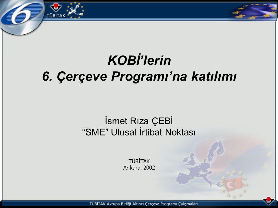 """KOBİ'lerin 6. Çerçeve Programı'na katılımı İsmet Rıza ÇEBİ """"SME"""" Ulusal İrtibat Noktası TÜBİTAK Ankara, 2002"""