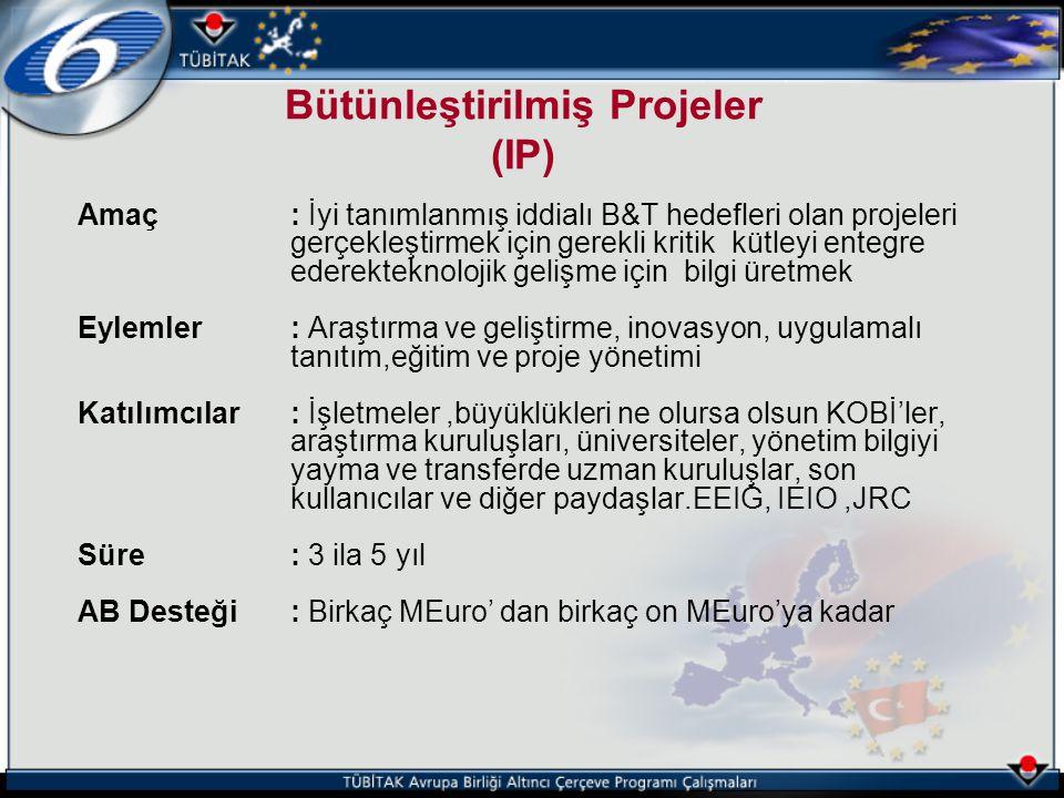 Amaç: İyi tanımlanmış iddialı B&T hedefleri olan projeleri gerçekleştirmek için gerekli kritik kütleyi entegre ederekteknolojik gelişme için bilgi üre