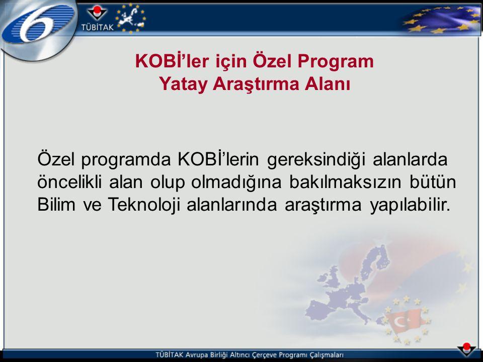 KOBİ'ler için Özel Program Yatay Araştırma Alanı Özel programda KOBİ'lerin gereksindiği alanlarda öncelikli alan olup olmadığına bakılmaksızın bütün B