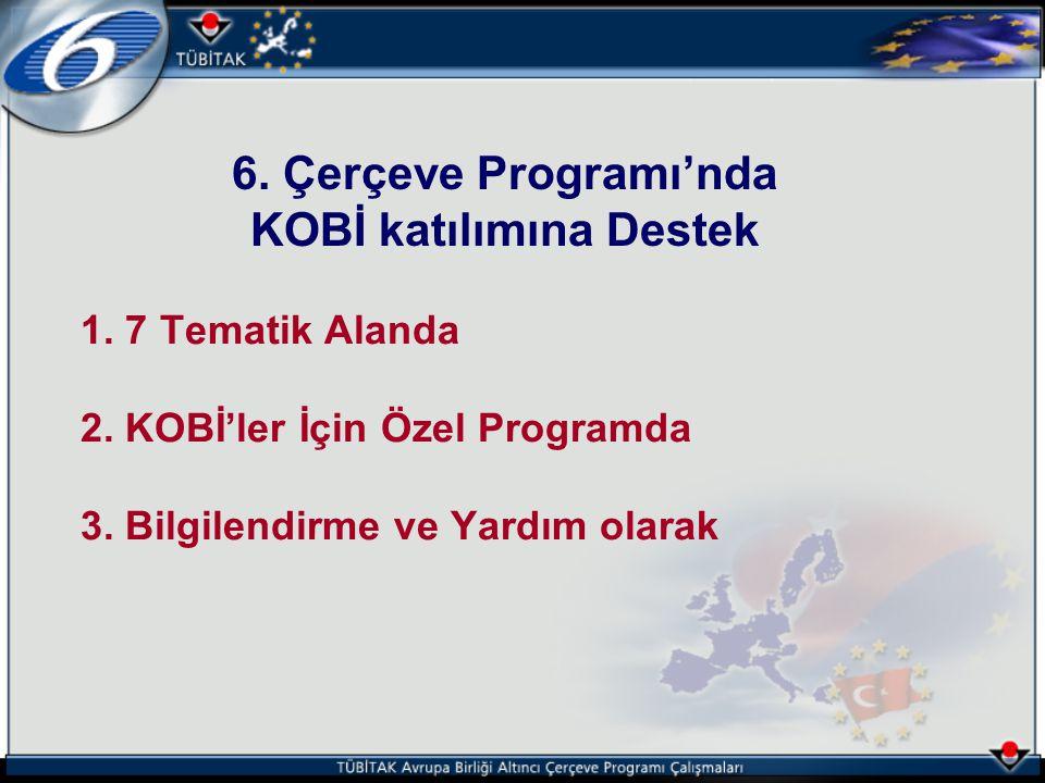 1. 7 Tematik Alanda 2. KOBİ'ler İçin Özel Programda 3. Bilgilendirme ve Yardım olarak 6. Çerçeve Programı'nda KOBİ katılımına Destek