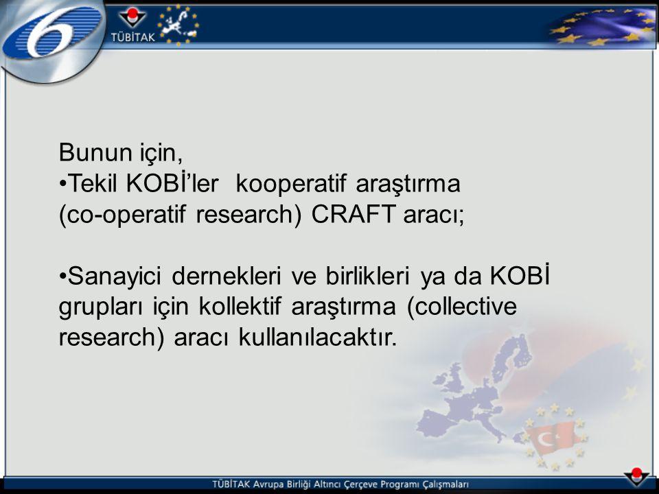 Bunun için, Tekil KOBİ'ler kooperatif araştırma (co-operatif research) CRAFT aracı; Sanayici dernekleri ve birlikleri ya da KOBİ grupları için kollekt