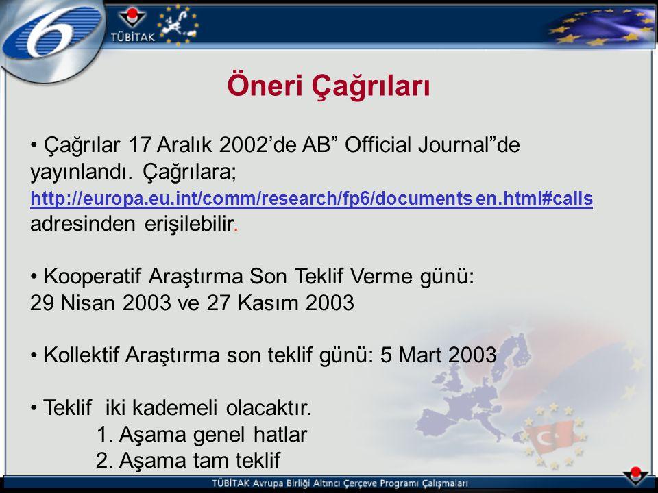 """Çağrılar 17 Aralık 2002'de AB"""" Official Journal""""de yayınlandı. Çağrılara; http://europa.eu.int/comm/research/fp6/documents en.html#calls adresinden er"""