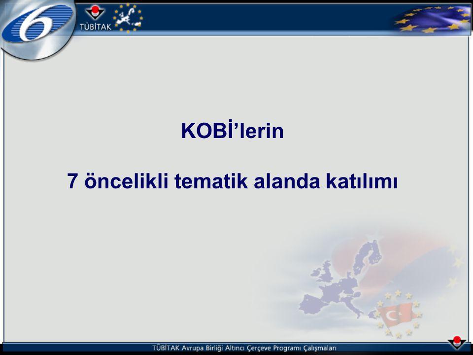 KOBİ'lerin 7 öncelikli tematik alanda katılımı