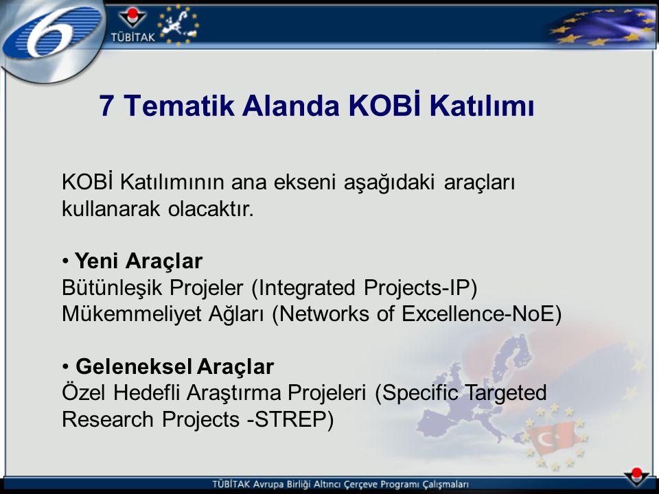 7 Tematik Alanda KOBİ Katılımı KOBİ Katılımının ana ekseni aşağıdaki araçları kullanarak olacaktır. Yeni Araçlar Bütünleşik Projeler (Integrated Proje