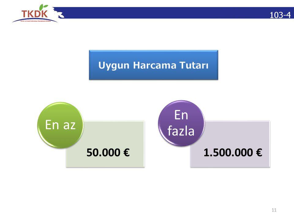 103-4 11 50.000 € En az 1.500.000 € En fazla
