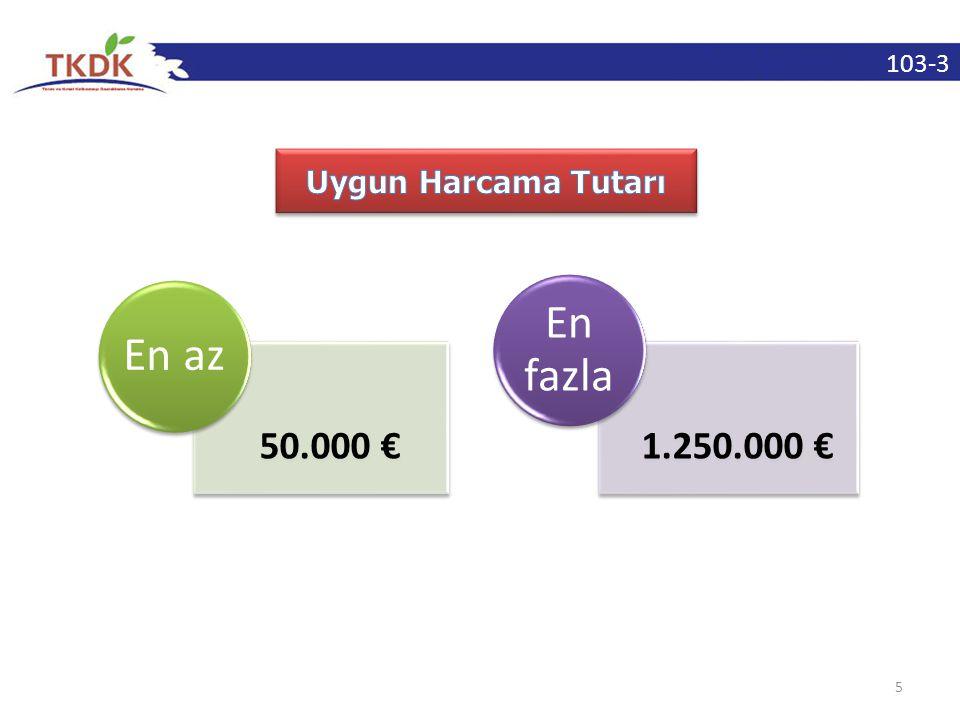 103-3 5 50.000 € En az 1.250.000 € En fazla
