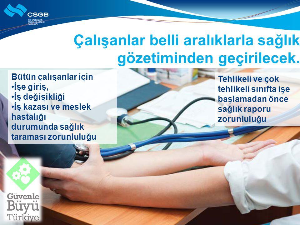 Çalışanlar belli aralıklarla sağlık gözetiminden geçirilecek.