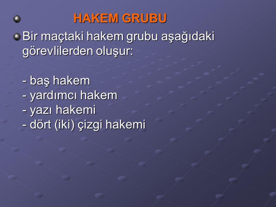 HAKEM GRUBU HAKEM GRUBU Bir maçtaki hakem grubu aşağıdaki görevlilerden oluşur: - baş hakem - yardımcı hakem - yazı hakemi - dört (iki) çizgi hakemi