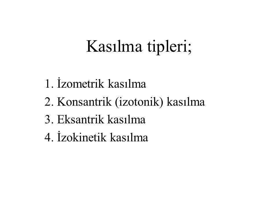 Kasılma tipleri; 1. İzometrik kasılma 2. Konsantrik (izotonik) kasılma 3. Eksantrik kasılma 4. İzokinetik kasılma