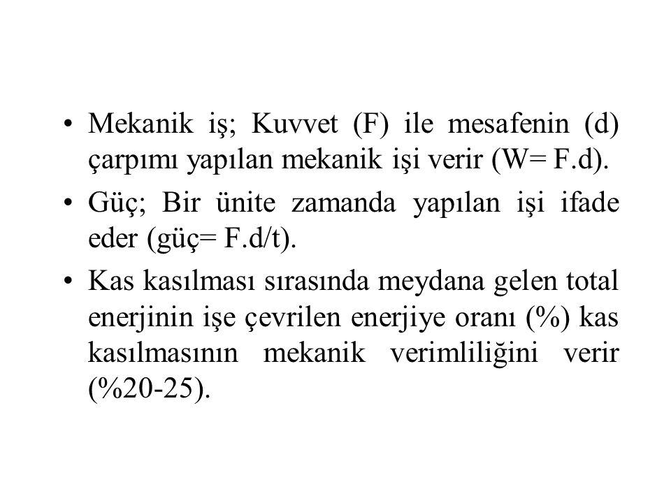 Mekanik iş; Kuvvet (F) ile mesafenin (d) çarpımı yapılan mekanik işi verir (W= F.d). Güç; Bir ünite zamanda yapılan işi ifade eder (güç= F.d/t). Kas k