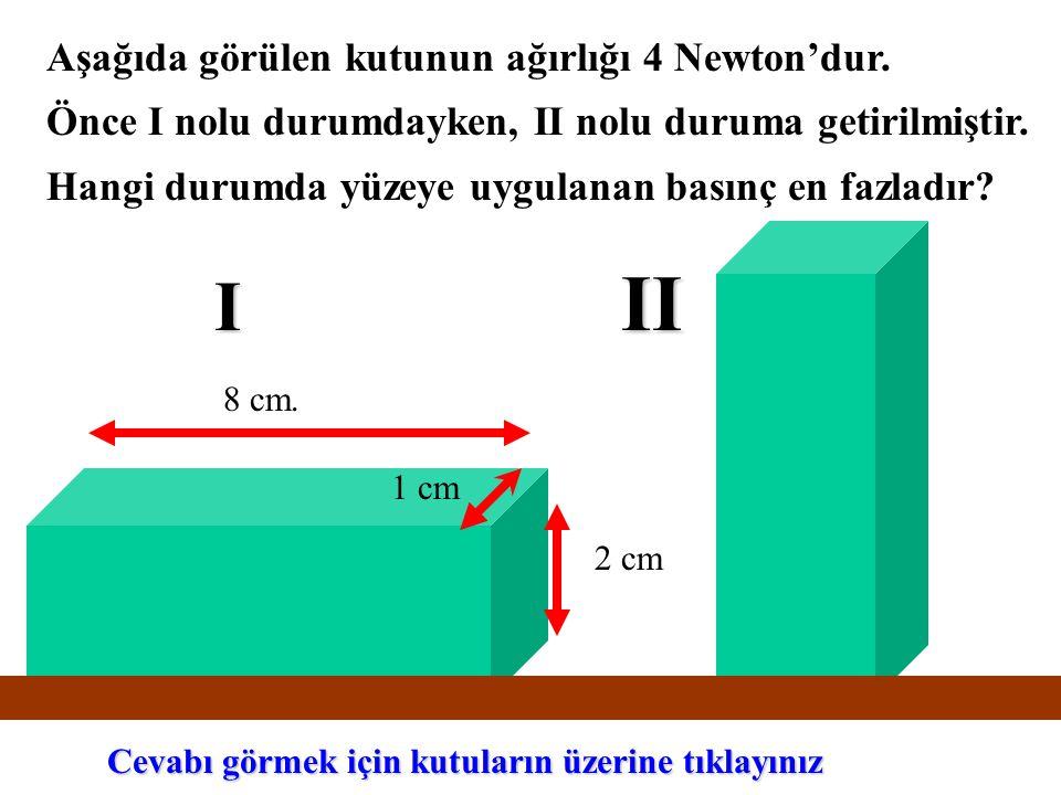 Aşağıda görülen kutunun ağırlığı 4 Newton'dur. Önce I nolu durumdayken, II nolu duruma getirilmiştir. Hangi durumda yüzeye uygulanan basınç en fazladı