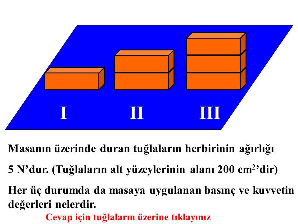 IIIIII Masanın üzerinde duran tuğlaların herbirinin ağırlığı 5 N'dur. (Tuğlaların alt yüzeylerinin alanı 200 cm 2 'dir) Her üç durumda da masaya uygul