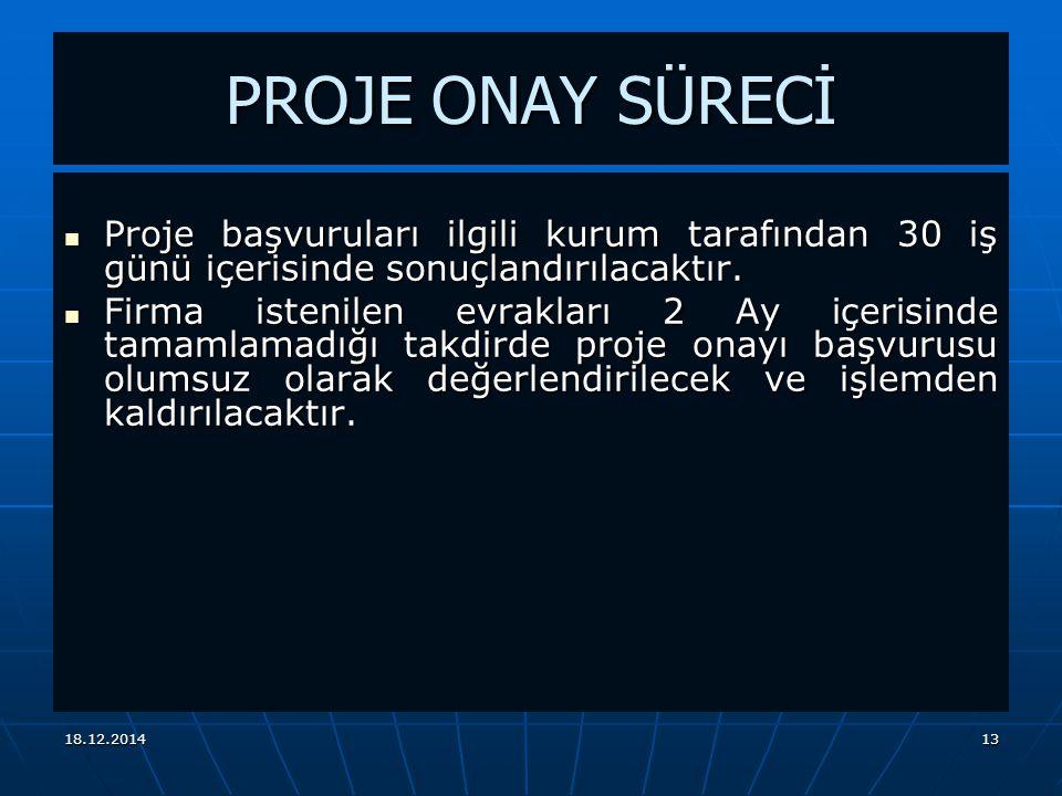 18.12.201413 PROJE ONAY SÜRECİ Proje başvuruları ilgili kurum tarafından 30 iş günü içerisinde sonuçlandırılacaktır.