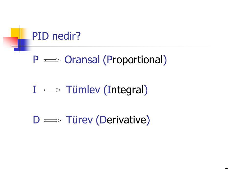 5 Proportional(Oransal) Mod P: Oransal mod, çıkış sinyalini denetleyicinin girişiyle doğru orantılı olarak ayarlar.