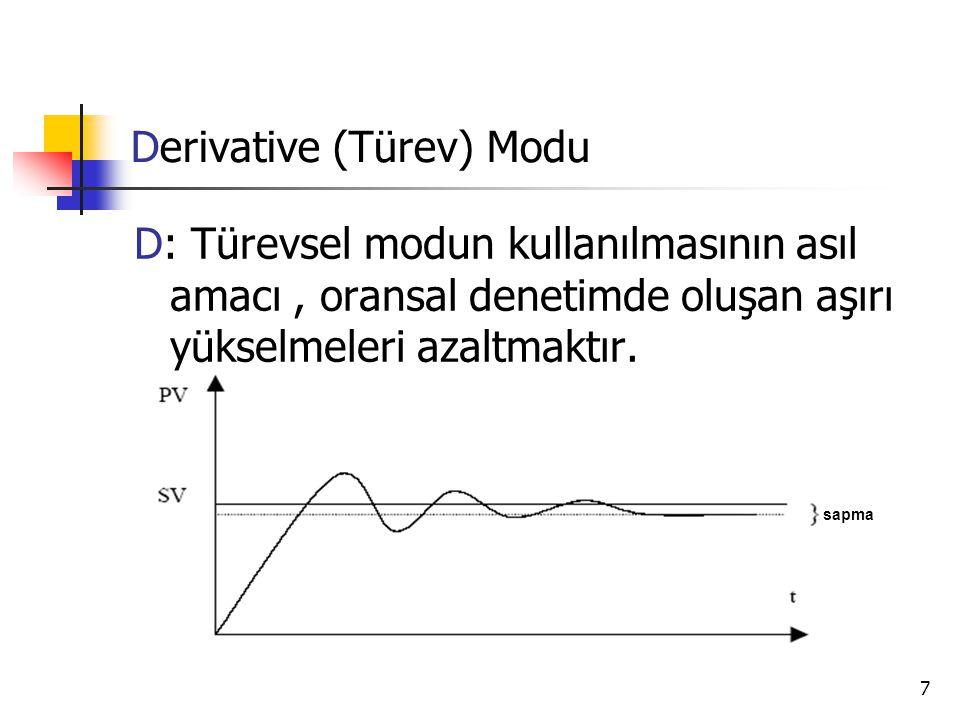 7 Derivative (Türev) Modu D: Türevsel modun kullanılmasının asıl amacı, oransal denetimde oluşan aşırı yükselmeleri azaltmaktır. sapma