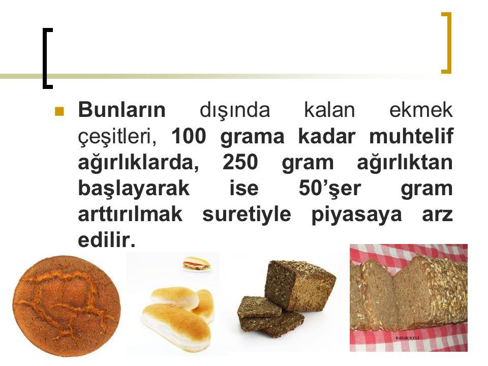 Bunların dışında kalan ekmek çeşitleri, 100 grama kadar muhtelif ağırlıklarda, 250 gram ağırlıktan başlayarak ise 50'şer gram arttırılmak suretiyle piyasaya arz edilir.