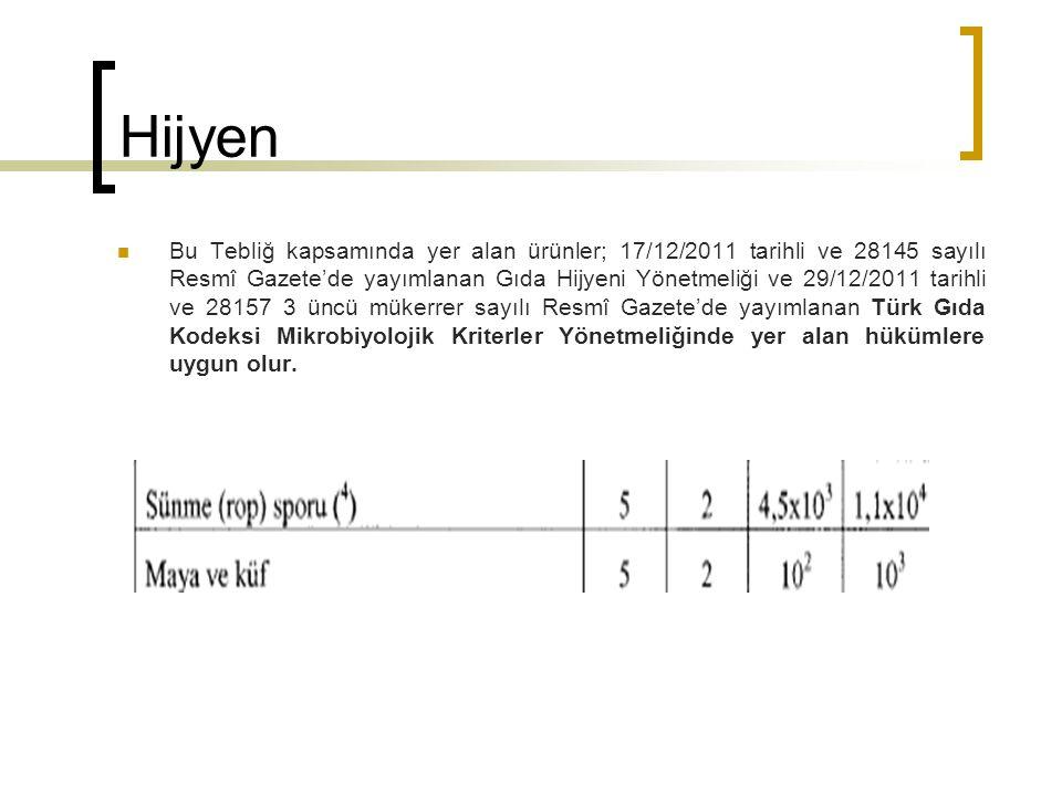 Hijyen Bu Tebliğ kapsamında yer alan ürünler; 17/12/2011 tarihli ve 28145 sayılı Resmî Gazete'de yayımlanan Gıda Hijyeni Yönetmeliği ve 29/12/2011 tarihli ve 28157 3 üncü mükerrer sayılı Resmî Gazete'de yayımlanan Türk Gıda Kodeksi Mikrobiyolojik Kriterler Yönetmeliğinde yer alan hükümlere uygun olur.