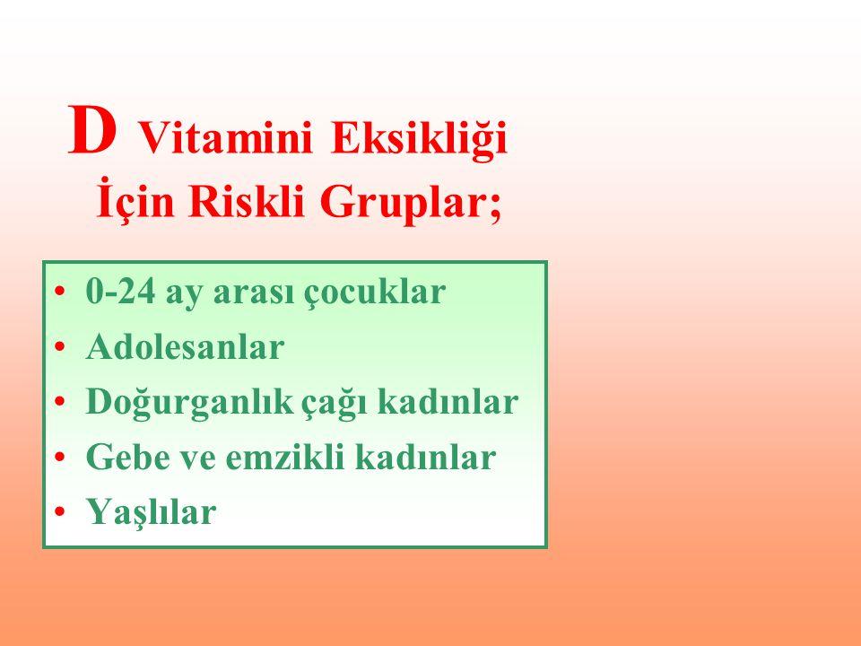 0-24 ay arası çocuklar Adolesanlar Doğurganlık çağı kadınlar Gebe ve emzikli kadınlar Yaşlılar D Vitamini Eksikliği İçin Riskli Gruplar;