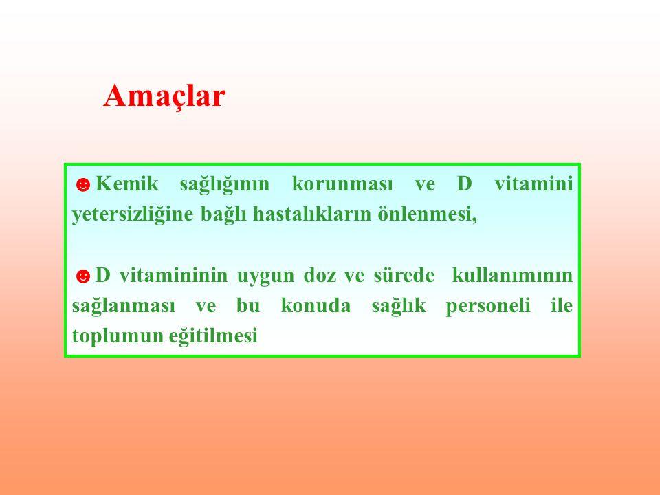 ☻Kemik sağlığının korunması ve D vitamini yetersizliğine bağlı hastalıkların önlenmesi, ☻D vitamininin uygun doz ve sürede kullanımının sağlanması ve