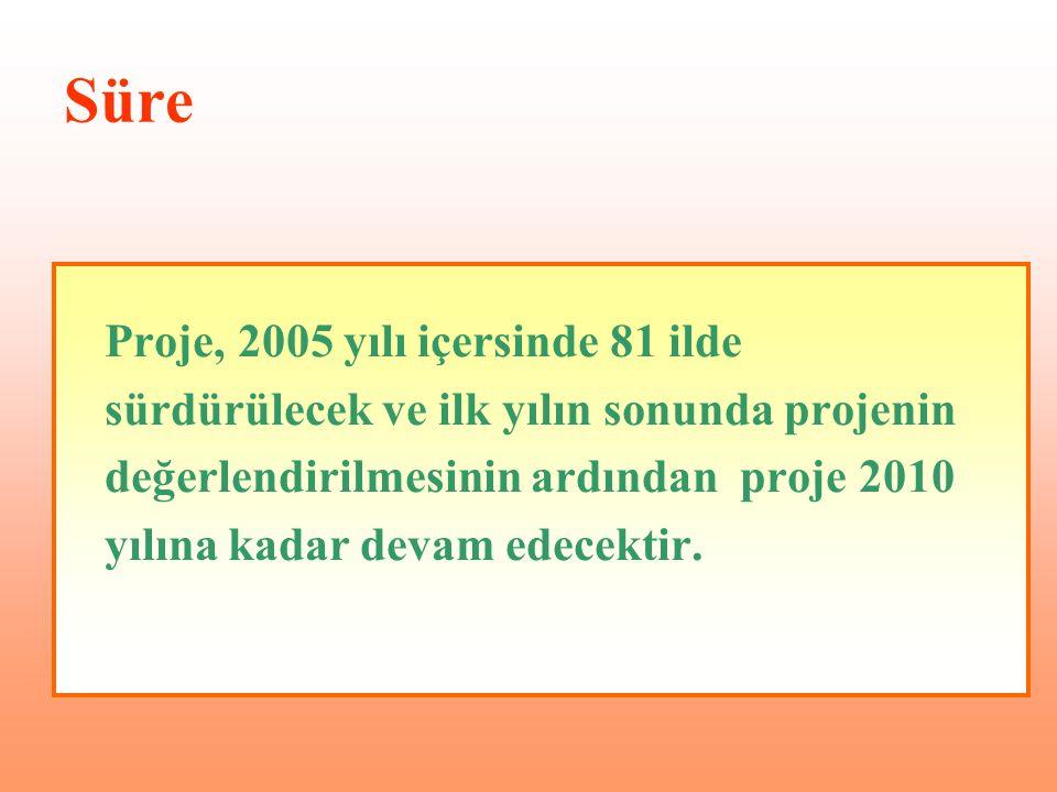 Süre Proje, 2005 yılı içersinde 81 ilde sürdürülecek ve ilk yılın sonunda projenin değerlendirilmesinin ardından proje 2010 yılına kadar devam edecekt