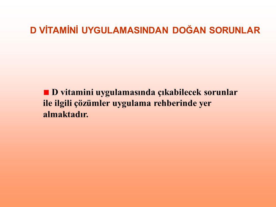 D vitamini uygulamasında çıkabilecek sorunlar ile ilgili çözümler uygulama rehberinde yer almaktadır. D VİTAMİNİ UYGULAMASINDAN DOĞAN SORUNLAR