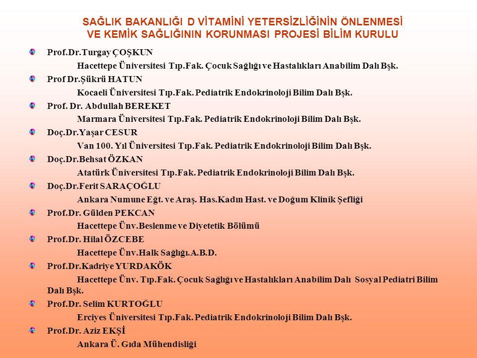 SAĞLIK BAKANLIĞI D VİTAMİNİ YETERSİZLİĞİNİN ÖNLENMESİ VE KEMİK SAĞLIĞININ KORUNMASI PROJESİ BİLİM KURULU Prof.Dr.Turgay ÇOŞKUN Hacettepe Üniversitesi