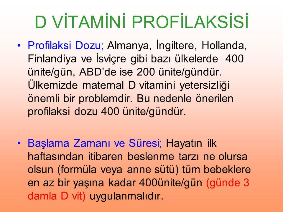 İzlem Sıklığı ve Süresi; D vitamini profilaksisi uygulanan bebeklerin her izlemde (özellikle aşıya gelen bebeklerde) önerilen dozda D vitamini kullanıp kullanmadığının kontrol edilmesi yeterlidir.