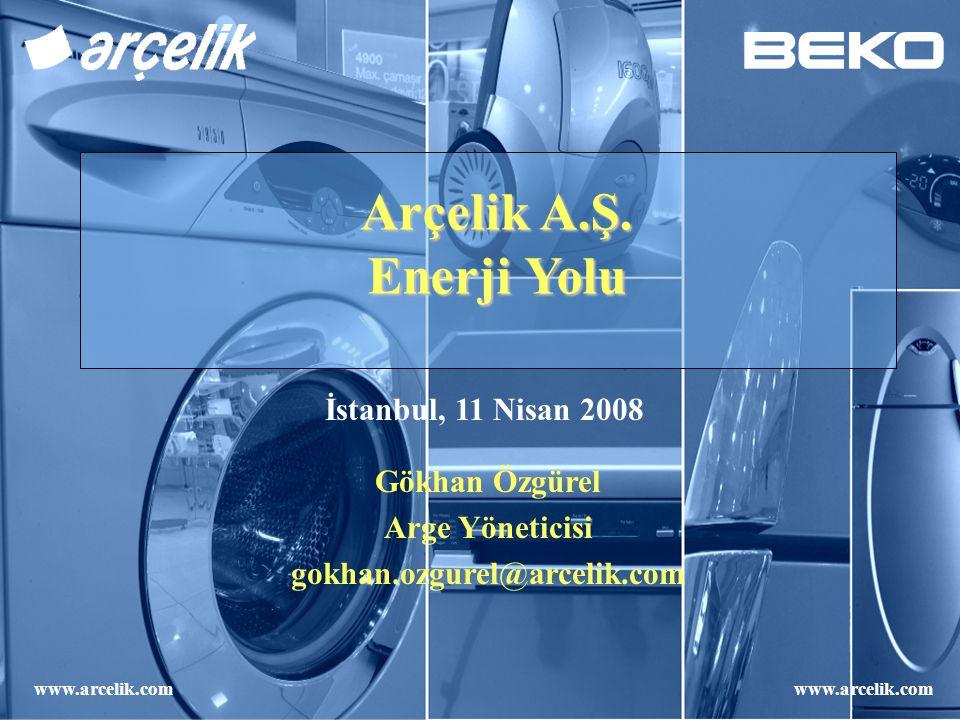 Arçelik A.Ş. Enerji Yolu Gökhan Özgürel Arge Yöneticisi gokhan.ozgurel@arcelik.com İstanbul, 11 Nisan 2008 www.arcelik.com