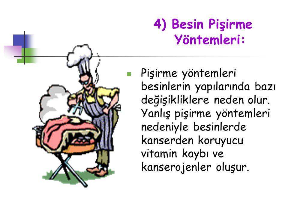 4) Besin Pişirme Yöntemleri: Pişirme yöntemleri besinlerin yapılarında bazı değişikliklere neden olur. Yanlış pişirme yöntemleri nedeniyle besinlerde