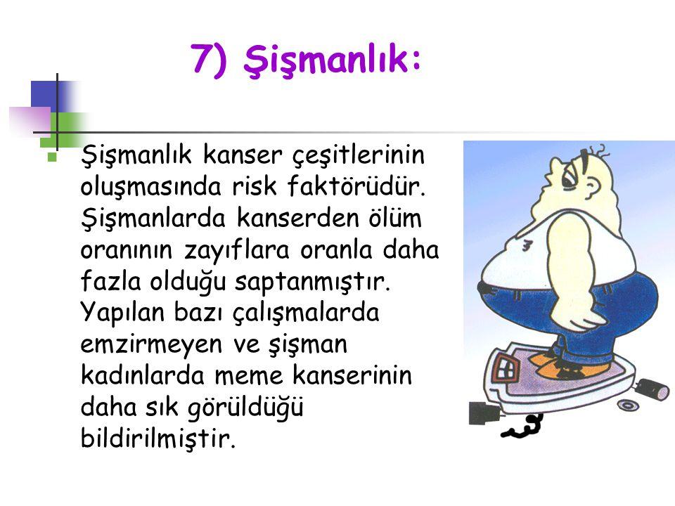 7) Şişmanlık: Şişmanlık kanser çeşitlerinin oluşmasında risk faktörüdür. Şişmanlarda kanserden ölüm oranının zayıflara oranla daha fazla olduğu saptan