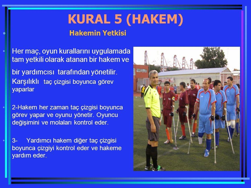 KURAL 5 (HAKEM) Hakemin Yetkisi Her maç, oyun kurallarını uygulamada tam yetkili olarak atanan bir hakem ve bir yardımcısı tarafından yönetilir. Karşı