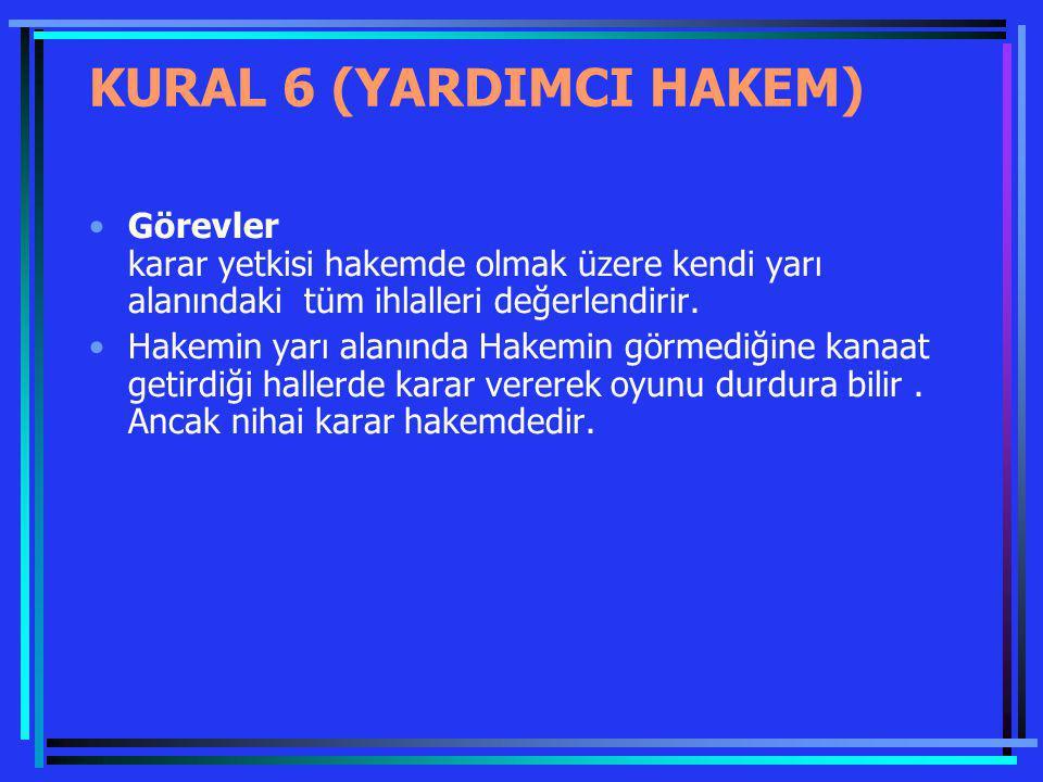 KURAL 6 (YARDIMCI HAKEM) Görevler karar yetkisi hakemde olmak üzere kendi yarı alanındaki tüm ihlalleri değerlendirir. Hakemin yarı alanında Hakemin g