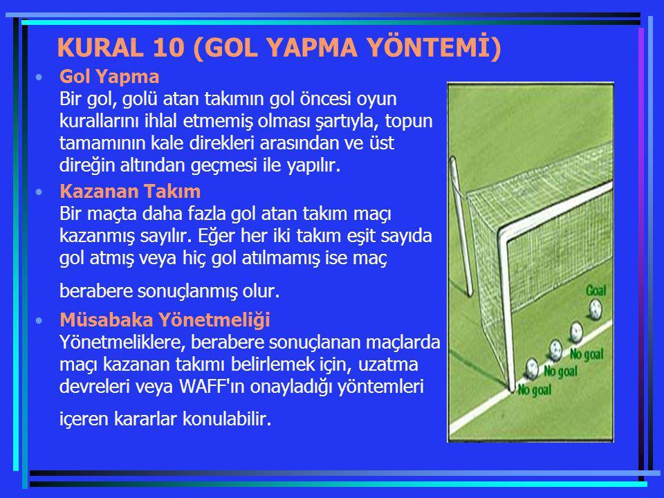 KURAL 10 (GOL YAPMA YÖNTEMİ) Gol Yapma Bir gol, golü atan takımın gol öncesi oyun kurallarını ihlal etmemiş olması şartıyla, topun tamamının kale dire