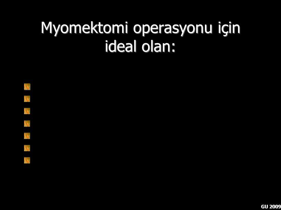 GU 2009 Myomektomi operasyonu için ideal olan: Myomlar tamamen çıkartılmalı Peroperatif komplikasyon olasılığı düşük olmalı Postoperatif komplikasyon
