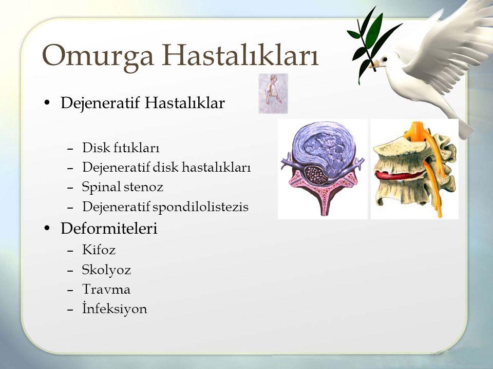 Dejeneratif Hastalıklar –Disk fıtıkları –Dejeneratif disk hastalıkları –Spinal stenoz –Dejeneratif spondilolistezis Deformiteleri –Kifoz –Skolyoz –Travma –İnfeksiyon