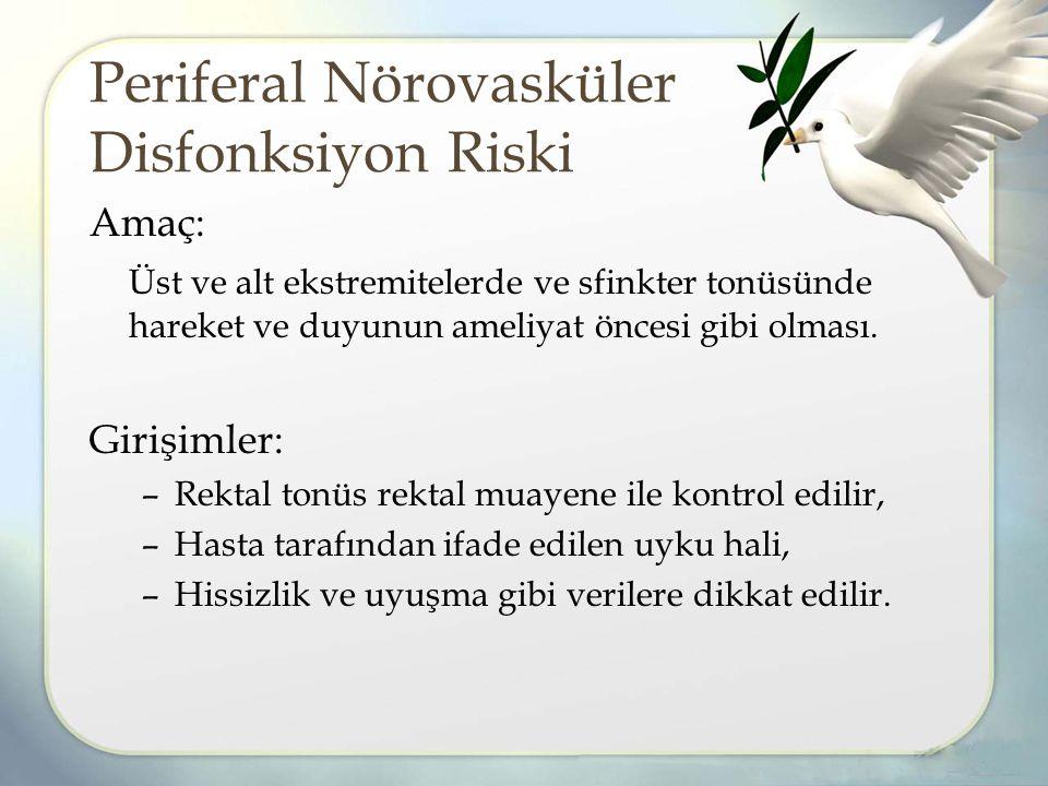 Periferal Nörovasküler Disfonksiyon Riski Amaç: Üst ve alt ekstremitelerde ve sfinkter tonüsünde hareket ve duyunun ameliyat öncesi gibi olması.