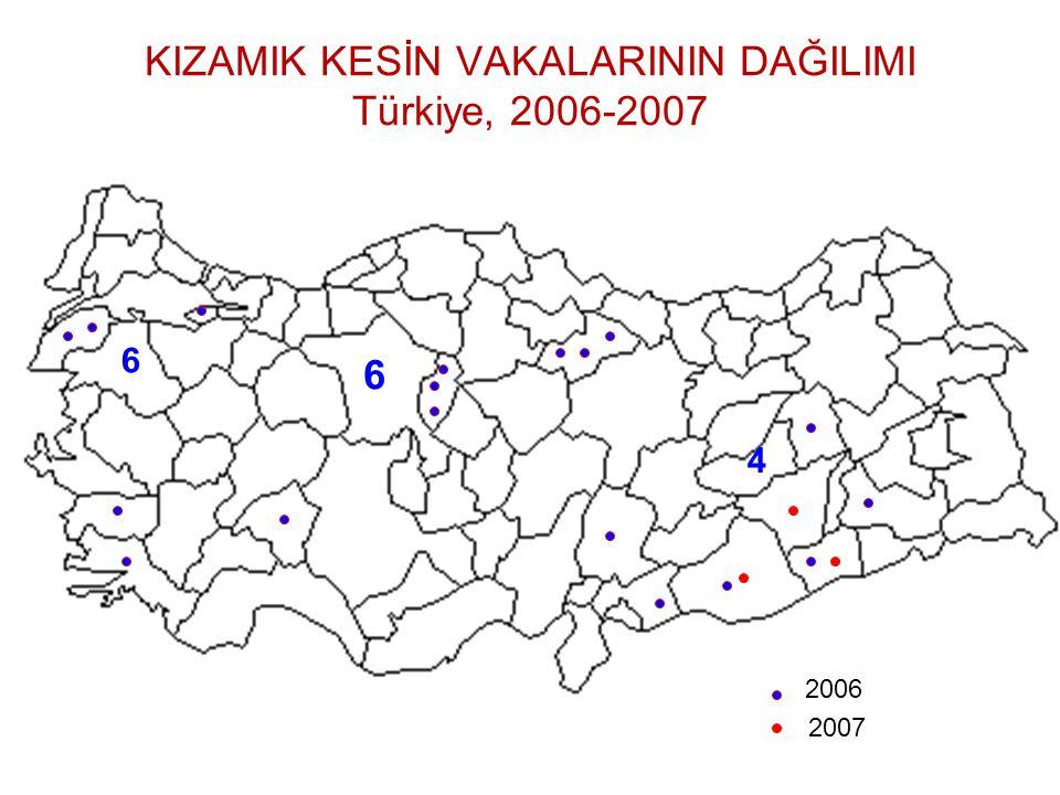 KIZAMIK KESİN VAKALARININ DAĞILIMI Türkiye, 2006-2007 6 6 4 2006 2007