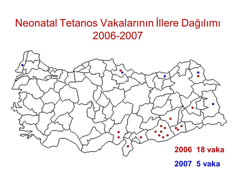 2006 18 vaka 2007 5 vaka Neonatal Tetanos Vakalarının İllere Dağılımı 2006-2007