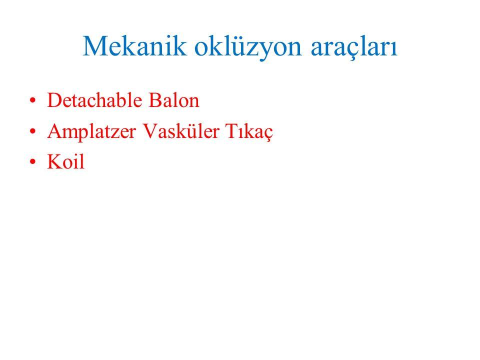 Mekanik oklüzyon araçları Detachable Balon Amplatzer Vasküler Tıkaç Koil
