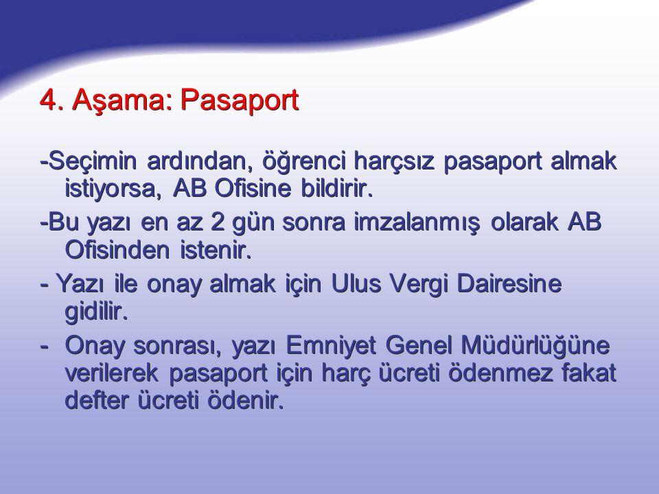 4. Aşama: Pasaport -Seçimin ardından, öğrenci harçsız pasaport almak istiyorsa, AB Ofisine bildirir. -Bu yazı en az 2 gün sonra imzalanmış olarak AB O