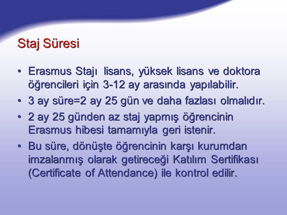 Staj Süresi Erasmus Stajı lisans, yüksek lisans ve doktora öğrencileri için 3-12 ay arasında yapılabilir. 3 ay süre=2 ay 25 gün ve daha fazlası olmalı