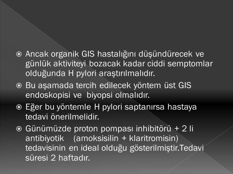  Ancak organik GIS hastalığını düşündürecek ve günlük aktiviteyi bozacak kadar ciddi semptomlar olduğunda H pylori araştırılmalıdır.  Bu aşamada ter